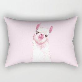 Llama Pink Rectangular Pillow