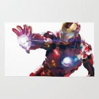 iron man Area & Throw Rugs featuring Iron man by Gary Reddin