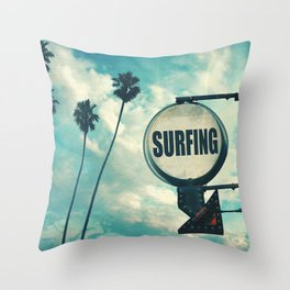 Surfing Sign Throw Pillow
