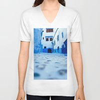 morocco V-neck T-shirts featuring Chefchaouen, Morocco by Petrichor Photo