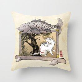 Okami Cat Zodiac Sign Throw Pillow