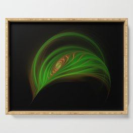 Gold Green Peacock Feather Serving Tray