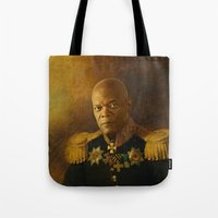 replaceface Tote Bags featuring Samuel L. Jackson - replaceface by replaceface