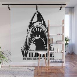Shark. Scary jaws of deep sea waters. Wall Mural