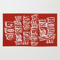 religion Area & Throw Rugs featuring House Is My Religion by Worm Sign T-Shirts