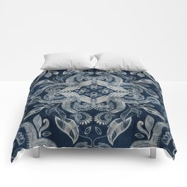 Indigo blue dirty denim textured boho pattern Comforters