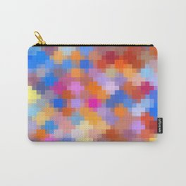 geometric square pixel pattern abstract in pink blue orange Carry-All Pouch