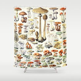 Adolphe Millot - Champignons B - French vintage poster Shower Curtain
