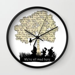 We're All Mad Here II - Alice In Wonderland Silhouette Art Wall Clock