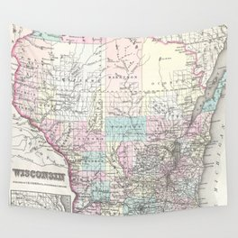 Vintage Map of Wisconsin (1855) Wall Tapestry