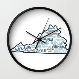 Cities of Virginia Wall Clock