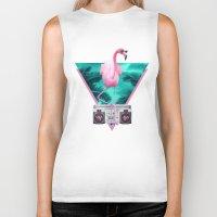miami Biker Tanks featuring Miami Flamingo by Robert Farkas