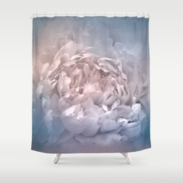 Blushing Blue and Cream Peony - Floral Shower Curtain