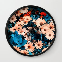 Colourful Daisies Pattern Wall Clock