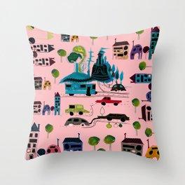 CityView pink Throw Pillow