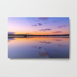 Sunset at Loch of Skene in Aberdeenshire in Scotland Metal Print