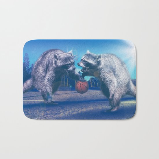 Racoon Basketball Game Bath Mat
