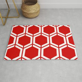 Rosso corsa - red - Geometric Polygon Pattern Rug