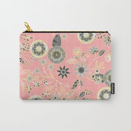 Elegant Gray and Pink Folk Floral Golden Design Carry-All Pouch