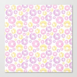 Watercolour Party Ring Biscuit Repeat Canvas Print