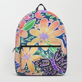 Circle of Butterflies and Flowers Backpack
