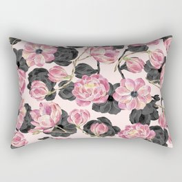 Girly Blush Pink and Black Watercolor Flowers Rectangular Pillow