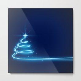 Neon Glow Christmas Tree Metal Print