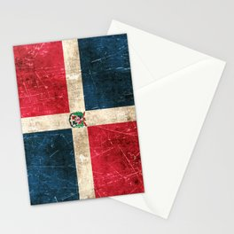 Vintage Aged and Scratched Dominican Flag Stationery Cards