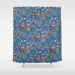 Buttons in Blue Shower Curtain