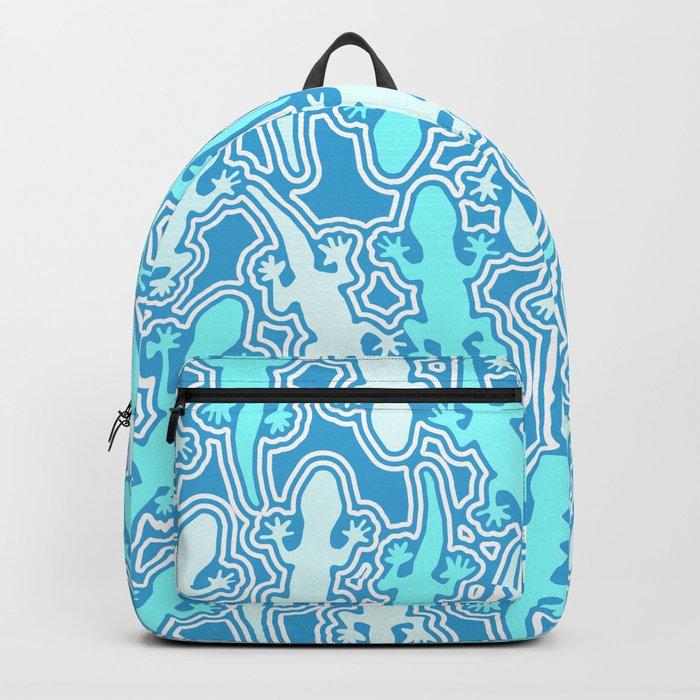 Lizards in teal blue Backpack