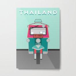 Thailand Tuk Tuk Travel Poster Block Type Metal Print