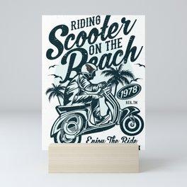 Riding Scooter On The Beach Mini Art Print