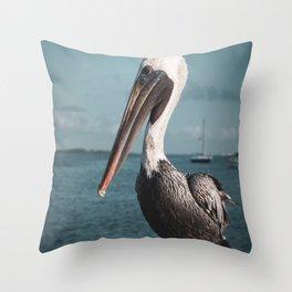 Bob The Pelican 2 Colorized Animal / Coastal Wildlife Photograph Throw Pillow