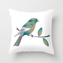Teal and Gold Bird on a Tree Limb Throw Pillow