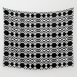 Arrows and Diamond Black and White Pattern 2 Wall Tapestry