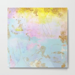 Light Blue, Pink,Yellow and Gold Brush Stroke Abstract Metal Print