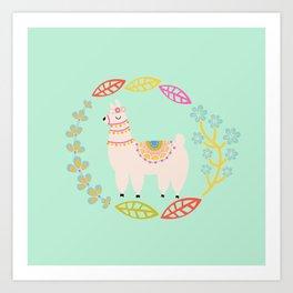 Lola Llama Mint Art Print
