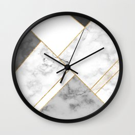 White, Grey and Gold Marble Wall Clock