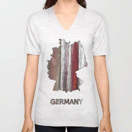 Germany map outline Wenge watercolor Unisex V-Neck