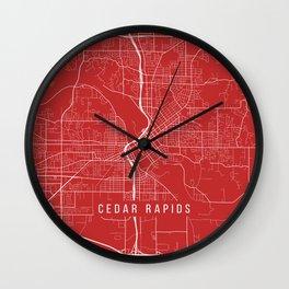 Cedar Rapids Map, USA - Red Wall Clock