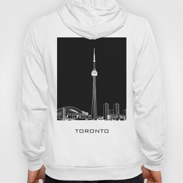 Toronto Skyline - White ground / Black Background Hoody