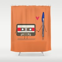 pen Shower Curtains featuring Love: cassette and pen by AlbaRicoque