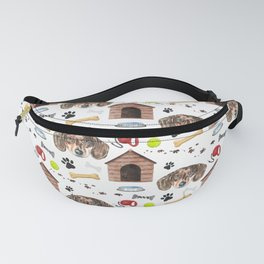 Dachshund Face Half Drop Repeat Pattern Fanny Pack
