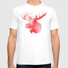 Moose red Mens Fitted Tee MEDIUM White