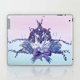 romantic swan couple Laptop & iPad Skin