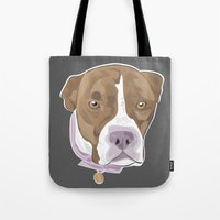 pitbull Tote Bags featuring PITBULL by designrainey