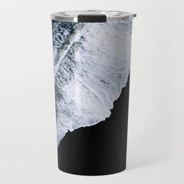 Waves crashing on a black sand beach – minimalist Landscape Photography Travel Mug