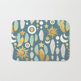 Bohemian spirit // dark turquoise background Bath Mat