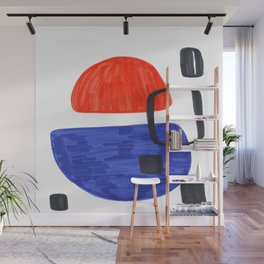 Mid Century Modern Abstract Minimalist Art Colorful Shapes Vintage Retro Style Orange Blue Shapes Wall Mural