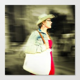 She is proud with her straw hat Canvas Print